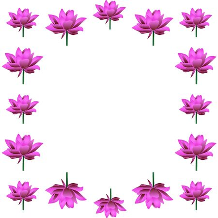 Cute frame of blooming lotuses. In the shape of a square. Pink water lily. Vector. Place for text, photo. Isolated background. The idea for creating a greeting card, invitation. Flower ornament.