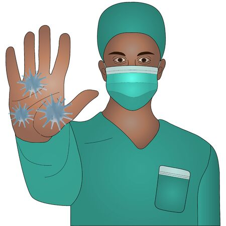 Color vector illustration of a doctor African American in a mask and overalls in green. Hand forward - stop viruses. Man on an isolated background. Paramedic with brown eyes. Idea for educational literature, web design, books. Medical theme.