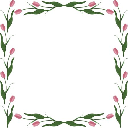 Spring frame of tulips in the shape of a square. Rosebud Vector. Place for text, photos. Isolated background. Idea for creating a greeting card, invitation, card. Floral ornament. 일러스트
