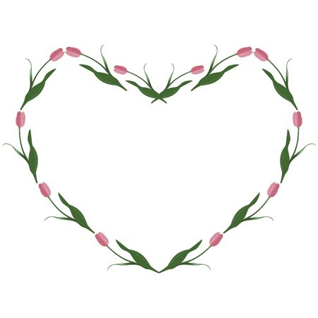 Spring frame of pink tulips in the shape of a heart. Vector. Place for text, photos. Isolated background. Idea for creating a greeting card, invitation, card. Valentine day, wedding, love. Floral ornament.