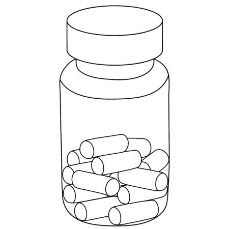 Vector illustration - vial with pills prescribed by a doctor. Capsules for the treatment of the disease. Contour on an isolated background. Coloring book for children and adults. Medical concept. Sketch of medicines. Ilustração