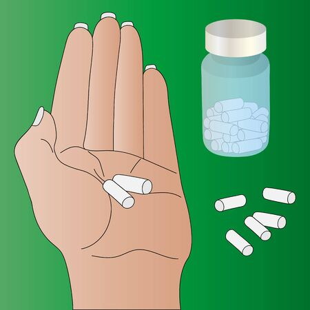 Color vector illustration of a women holding a pill prescribed by your doctor. Light skin. A bottle of pills in the background, capsules scattered. Green background. Medical concept. Treating illness.
