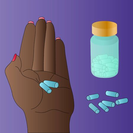 Color vector illustration of a women holding a pill prescribed by your doctor. Dark skin. A bottle of pills in the background, capsules scattered. Purple background. Medical concept. Treating illness.
