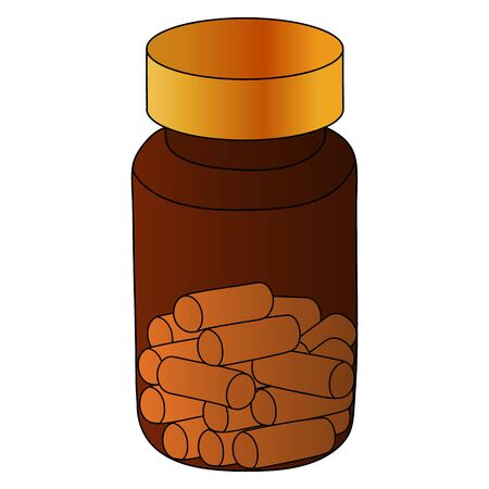 Color vector illustration - plastic jar with pills prescribed by a doctor. Capsules are white. Bubble on an isolated background. Medical treatment of the disease. Medical concept. Ilustração
