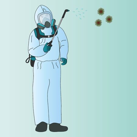 Color vector illustration of a disinfector in a mask and protective suit in blue. Processes air from viruses. Man on a green background. Idea for educational literature, web design, books. Medical concept. Vettoriali