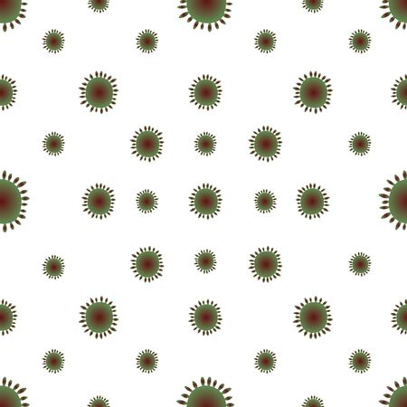 Virus, bacterium red-green color seamless pattern. Isolated background. Vector abstraction. COVID-19. The idea for the design of a medical article, educational literature, cover. Endless ornament.