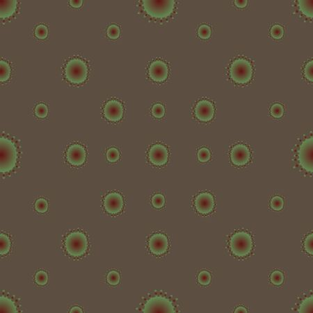 Virus, bacterium red-green color seamless pattern. Light brown background. Vector abstraction. COVID-19. The idea for the design of a medical article, educational literature, cover. Endless ornament. Reklamní fotografie - 140270992