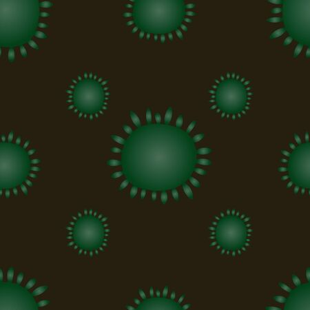 Virus seamless pattern, bacterium of green color. On a green-brown background. Vector abstraction. COVID-19. The idea for the design of a medical article, educational literature, cover. Endless ornament.