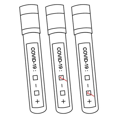 Vector illustration-test tubes with analysis of patients. Diagnosis of blood samples for COVID-19 infection. Three results: positive, negative, and unprepared. Outline on an isolated background. Sketch Çizim