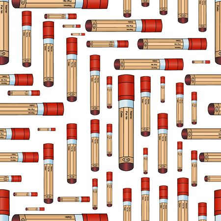 Seamless pattern-vacuum tubes with blood tests. The cap is red. Label without data. Vector. Isolated background. Idea for Wallpaper, medical literature, cover art. Abstract ornament. The subject of health.