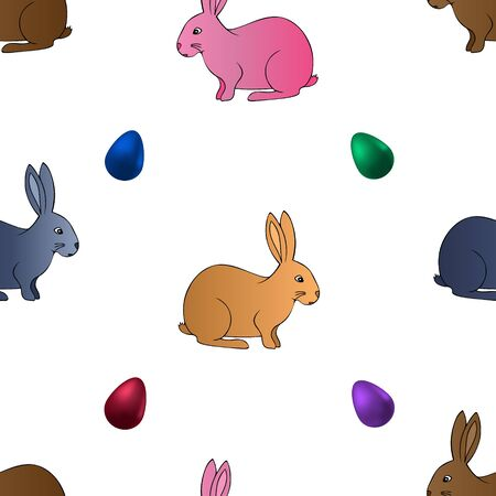 Endless pattern easter bunny and egg. Vector. Animal on an isolated background. Idea for baby clothes, covers, wallpapers. Cute pet. Cartoon style.