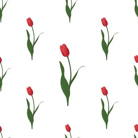 Endless red Tulip vector pattern. Symbol of passion. Plant on an isolated background. Idea for Wallpaper, cover, design. Floral print. Spring mood