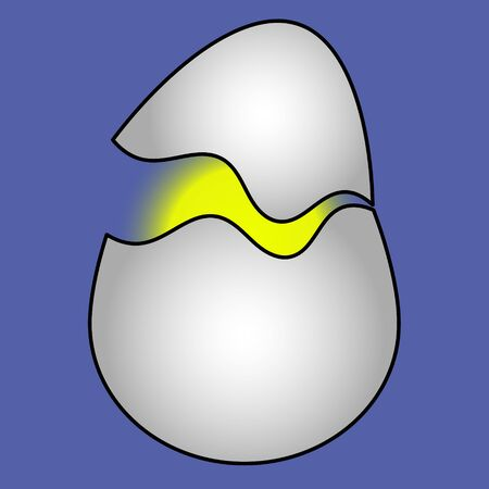 Color vector illustration of cracked egg shells, the origin of life. Yellow glow. Isolated purple background. Cartoon style. Idea for a book, magazine, or web design. Easter mood.