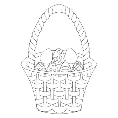 Vector illustration of an Easter basket with eggs. Outline on an isolated background. Coloring book for children and adults. Idea for a book or magazine. Doodle style. Spring print.