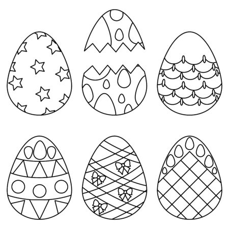 Vector illustration of a set of Easter eggs. Different ornaments. Outline on an isolated background. Coloring book for children and adults. Idea for a book or magazine. Doodle style. Holiday print.