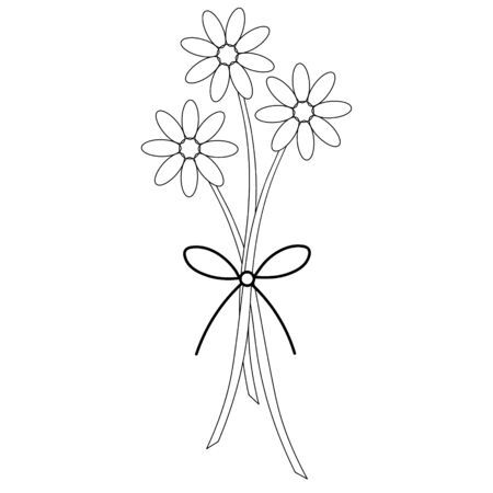Vector illustration of a delicate bouquet of camomiles. Ornament from the bow. Outline on an isolated background. Coloring book for children and adults. Idea for a book, greeting card design. Spring sketch. Doodle style.