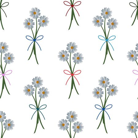 Seamless pattern of white camomiles bouquets. The decoration of the ribbons. Vector. Flowers on an isolated background. Idea for Wallpaper, cover, textile, wall. Spring print. Cartoon style.