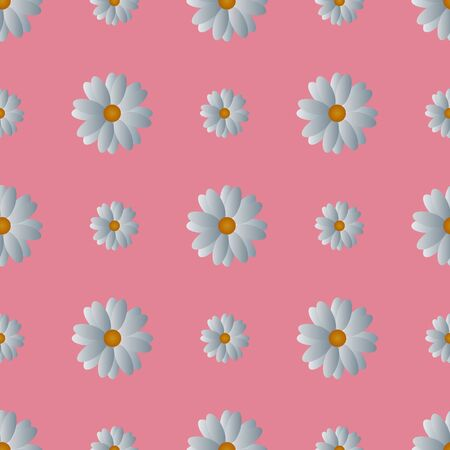 White camomiles seamless pattern. Vector. Flowers on a soft coral isolated background. Idea for wallpaper, cover, textile, wall. Spring print. Cartoon style.