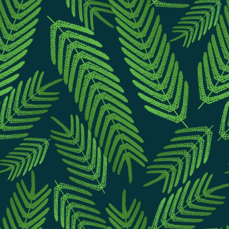 Fern seamless pattern. Large leaves on a green isolated background. Vector. Idea for wallpaper, cover, textile, wall. Tropical print. Flat style. Ilustracja
