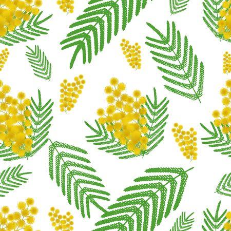 Nahtloses Vektormuster der gelben Mimose und der großen Blätter. Pflanzen auf einem isolierten Hintergrund. Idee für Buch, Zeitschrift, Grußkartendesign. Frühlingsdruck. Flacher Stil.