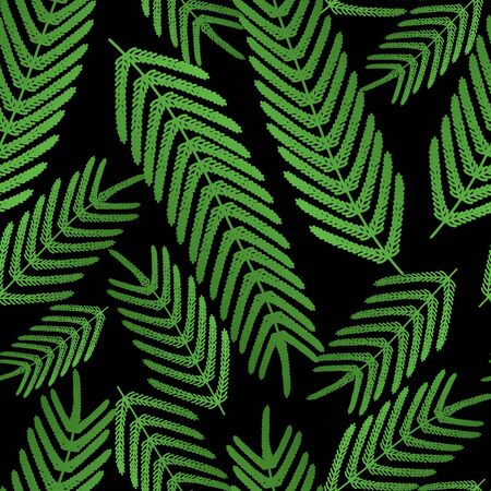 Fern seamless pattern. Large leaves on a black isolated background. Vector. Idea for wallpaper, cover, textile, wall. Tropical print. Flat style.