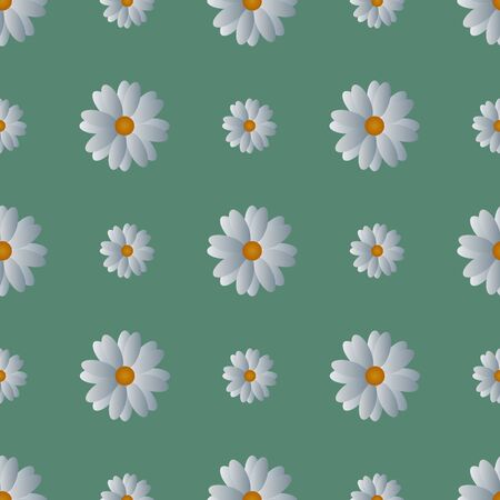 Seamless pattern of white camomiles. The decoration of the ribbons. Vector. Flowers on a soft green isolated background. Idea for Wallpaper, cover, textile, wall. Spring print. Cartoon style.