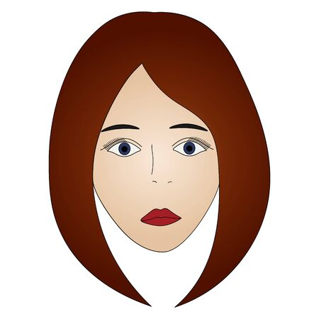 Color vector illustration of a brunette girl's face with blue eyes. Full face Long lashes. Her lips were painted scarlet. Hairstyle the classic Bob. Face on an isolated background. Idea for a book. Standard-Bild - 141875193