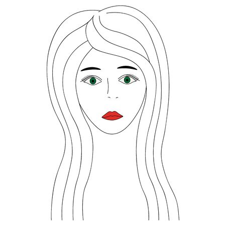 Vector illustration of a girls face with green eyes. Full face Long eyelashes. Black eyebrows. Her lips were painted red. Long hair. Face on an isolated background. Colorless image. 向量圖像