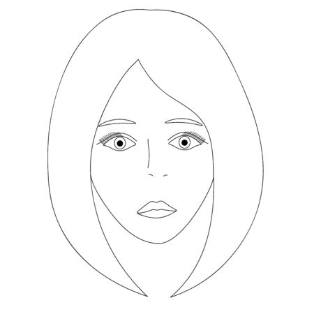Vector illustration of a girl's face. Full face Long eyelashes. Standard-Bild - 141875197