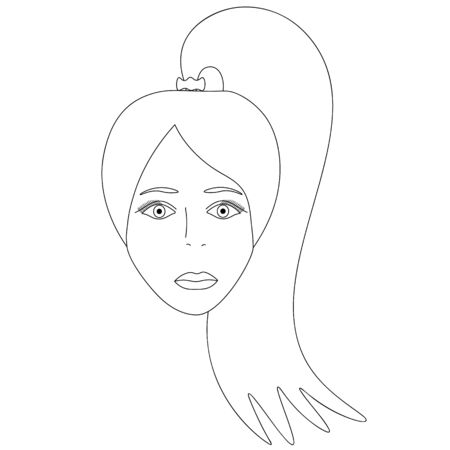 Vector illustration of a girl's face. Full face Long hair gathered in a ponytail. Standard-Bild - 141875199