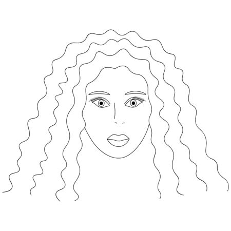 Vector illustration of the face of an African American girl. Standard-Bild - 141875210