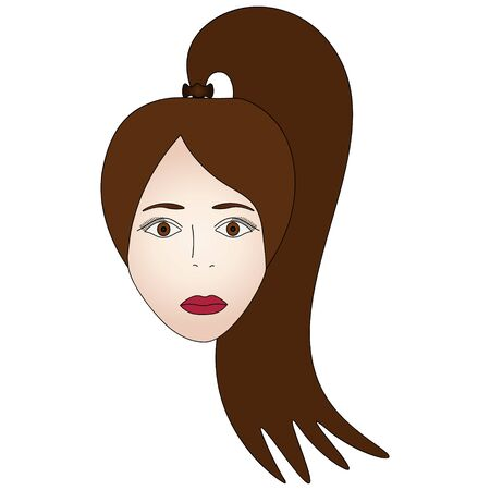 Color vector illustration of the face of a brunette girl.