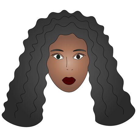 Color vector illustration of the face of an African American girl. Standard-Bild - 141874663