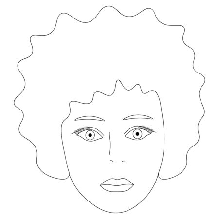 Vector illustration of the face of an African American girl.