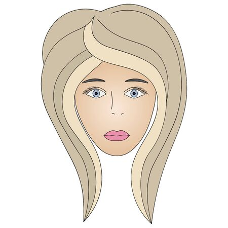 Color vector illustration of the face of a blonde girl with light blue eyes.