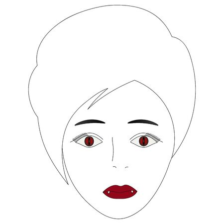 Vector illustration of the face of a vampire girl. Full face Short pixie haircut. Illustration