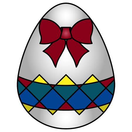 Color vector illustration of a white easter egg with a bright ornament in the form of colored rhombuses. Scarlet bow decoration. Isolated background. Idea for sticker, book, magazine. Holiday print. Vectores