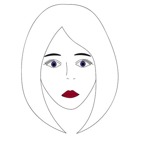 Vector illustration of a girls face with violet eyes. 向量圖像