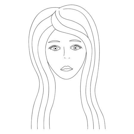 Vector illustration of a girl's face. Full face Long hair and eyelashes. Standard-Bild - 141874670
