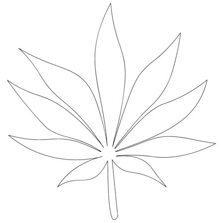 Vector illustration of a leaf of cannabis used in medicine.