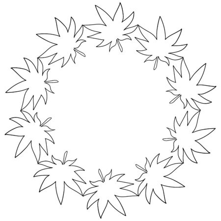 Vector frame in the form of a circle of cannabis leaves used in medicine. Illustration