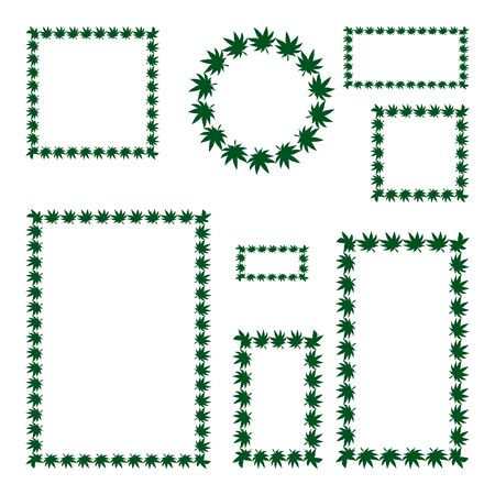 A set of vector frames for social networks in green. Leaves of cannabis used in medicine. Outline on an isolated background. Space for text. Idea for illustrating a book, magazine, or web design. Organic print. Flat style. Illustration