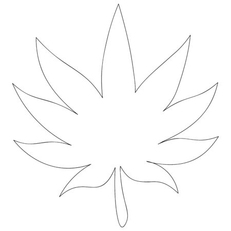 Vector illustration of a leaf of cannabis used in medicine. Marijuana outline on an isolated background. Agricultural crop-hemp. An idea for illustrating a book, magazine, or web design. Organic print. Doodle style