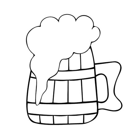 Vector illustration. Wooden mug with beer. Fresh frothy drink. Coloring book for children and adults. Contour on an isolated background. Sketch for St. Patrick's Day. Idea for book, magazine, web design.