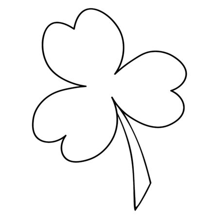 Vector illustration. The white clover leaf is the symbol of Ireland. Trefoil. Coloring pages for children and adults. Outline of a plant on an isolated background. An idea for a book, magazine, or web design. Doodle style. 일러스트