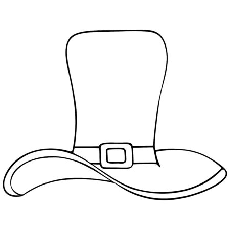 Vector illustration. Hat-top hat of a leprechaun. Coloring pages for children and adults. Outline of the headdress on an isolated background. Sketch for St. Patrick's Day. An idea for a book, magazine, or web design. Doodle style.