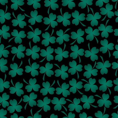 Seamless pattern. Clover leaf is a symbol of Ireland. Trefoil. Isolated black background. Vector. Green plant. Idea for wallpaper, cover, textile. Floral print.