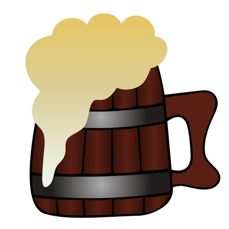 Color vector illustration. Wooden mug with beer on an isolated background. Fresh frothy drink. Cartoon style. Idea for book, magazine, web design.