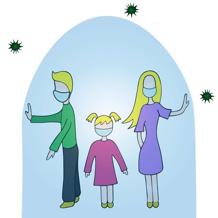 Color vector illustration of quarantine on the background of an outbreak of coronavirus infection Covid-19. Family in medical masks under a glass bell. Isolated background. Cartoon style. Better to stay at home.