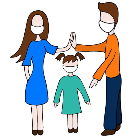 Color vector illustration of a quarantine on the background of an outbreak of Covid-19 coronavirus infection. Family in white medical masks. Mom, dad and baby. Hold hands. Isolated background. Cartoon style. Its better to stay at home.